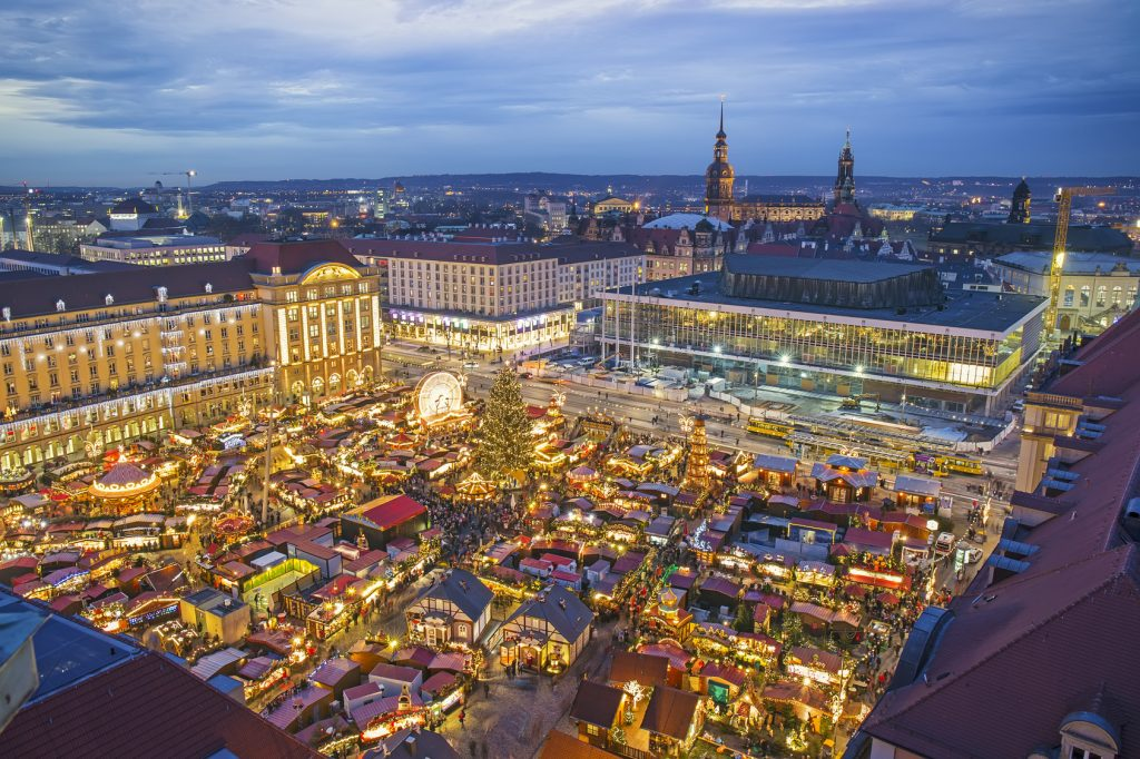 The Striezelmarkt market in Dresden