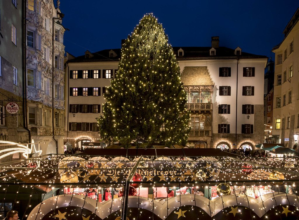 Christmas tree in the center of Innsbruck