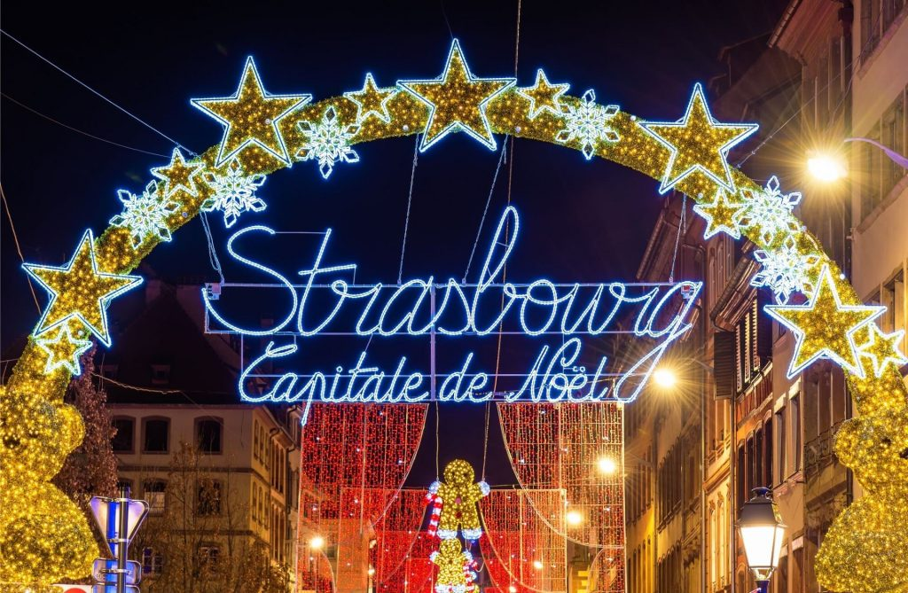 Entrance to the Christmas market in Strasbourg, the capital of Christmas