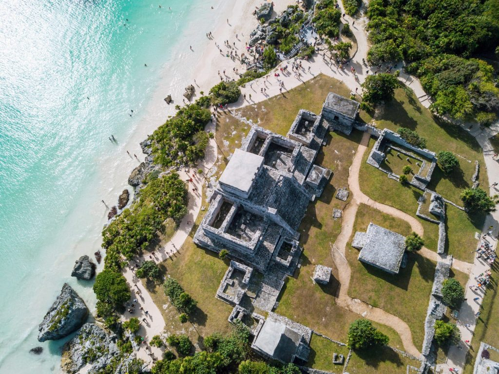 Tulum Maya archaeological park seen from above