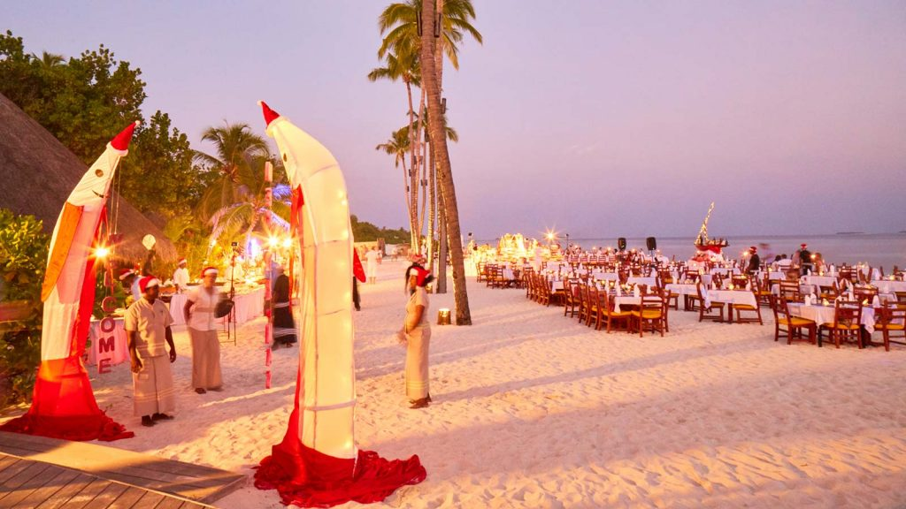Celebrations on the beach during Christmas, Maldives