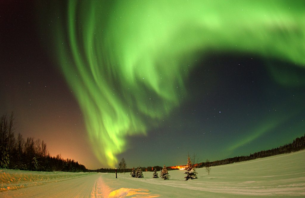 Northern lights during the Finnish winter