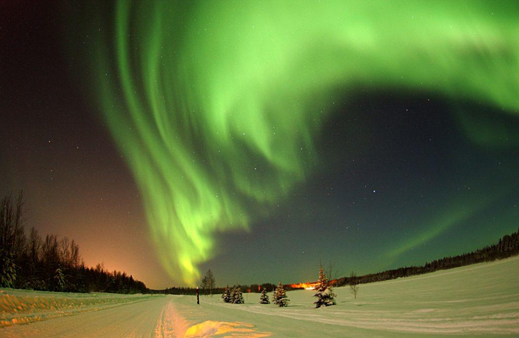Aurora boreale durante l'inverno Finlandese