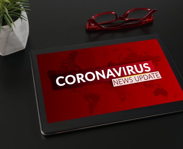 Coronavirus or Covid-19 pandemic News Update background concept.