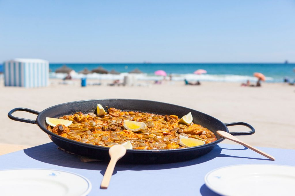 Paella along the Marina de Valencia, Spain